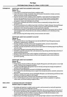 Asst Manager Resume Software Asset Management Resume Samples Velvet Jobs