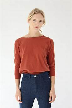 knit tops for 3 4 sleeve beklina cotton 3 4 sleeve knit top spice garmentory