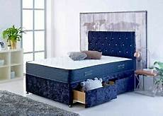 new blue crushed velvet divan bed matching mattress free