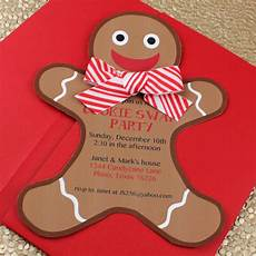 Gingerbread Cookie Template Gingerbread Man Holiday Cookie Party Invitation Template