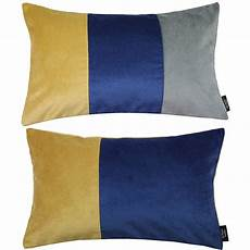 mcalister textiles velvet navy yellow grey pillow set