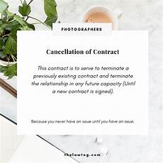 Cancellation Of Contract Cancel A Photography Contract