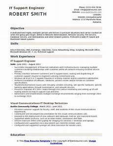 Resume Of Desktop Support Engineer It Support Engineer Resume Samples Qwikresume