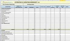 Estimating Sheet Construction Estimating Spreadsheet