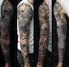 Full Sleeve Designs Skulls 50 Skull Sleeve Tattoos For Men Masculine Design Ideas