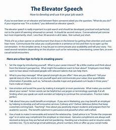 Elevator Speech Examples For Students Free 7 Sample Elevator Speech In Pdf