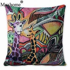 bright watercolor giraffe pillowcase square cotton linen