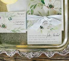 White On White Wedding Invitations Press White Anemone Hand Painted Wedding Invitations
