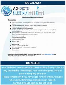 Job Advertisements Samples 16 01 2017 Job Vacancy Job Seeker 187 Ad Dicts Ads