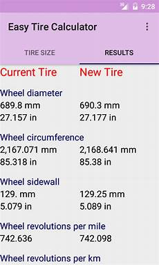 Tire Revolutions Per Mile Chart Easy Tire Calculator Android Apps On Google Play