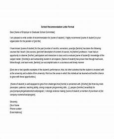 High School Letter Of Recommendation Template School Reference Letter Template 7 Free Word Pdf