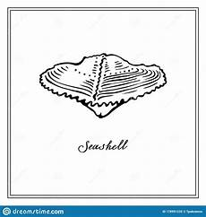 Collection Of Hand Drawn Greetings Words Small Seashell Black And White Square Card Hand Drawn