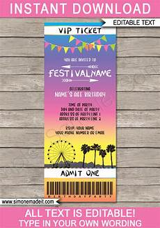 Ticket Invite Template Free Printable Coachella Party Ticket Invitation Template