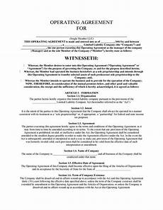 Template For Llc Operating Agreement 30 Professional Llc Operating Agreement Templates ᐅ