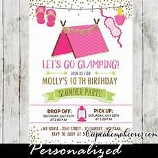 Girl Slumber Party Invitations Slumber Party Invitations Pink Glamping Tent Sleepover