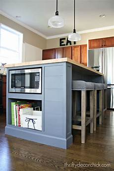 microwave in island in kitchen august 2015 from thrifty decor