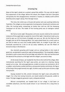 Examples Of A Personal Narrative Essay Sample Narrative Essay
