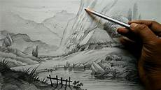 Pencil Art Drawings How To Draw Village Landscape With Pencil Pencil Art