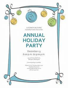 Annual Holiday Party Invitation Template Holiday Party Invitation With Blue Green And With