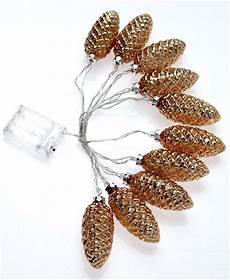 Pine Cone String Lights 10 Led Light Mercury Glass Pine Cone Battery Operated