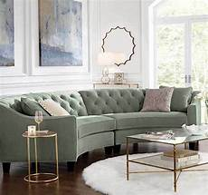 teal blue button tufted curved sectional sofa