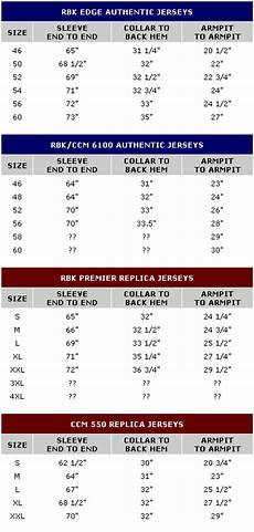 Ccm Size Chart Jersey Jersey Sizing Koho Vs Reebok Nhl Ij Forums Official