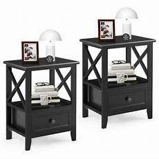 2pcs nightstand end side table living room decor w storage