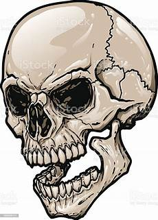 3 Skull Designs Skull At Three Quarter Angle With Open Mouth Stock