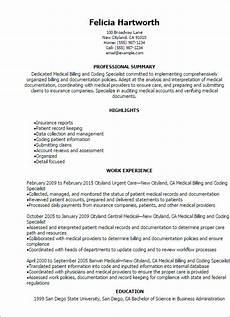 Medical Billing Job Description For Resume Medical Billing And Coding Specialist Resume Template