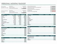 Budget And Expenses Personal Monthly Budget