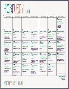 Menu Calendar February 2014 Monthly Meal Plan Freeprintable In 2019