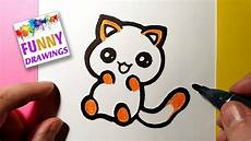 Cute Drawlings How To Draw A Cute Funny Kitten Easy Drawing Tutorial