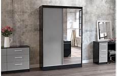 lynx 2 door sliding wardrobe with mirror crendon beds