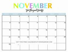 November 2020 Calendar Printable Free Free Printable 2020 Calendar So Beautiful Amp Colorful