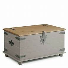 corona blanket box storage chest grey wax solid pine