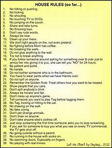 Rental House Rules Template House Rules For Kids The Complete List So Far