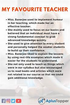 Essay On My Favourite Teacher Essay On My Favourite Teacher For Students And Children In