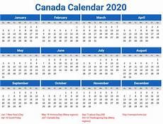 2020 Calendar Canada 2020 Calendar Canada Printable Year Calendar