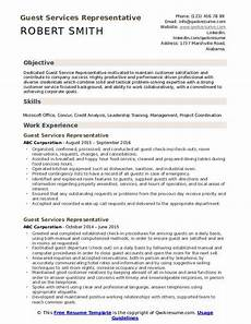 Guest Services Resume Guest Services Representative Resume Samples Qwikresume