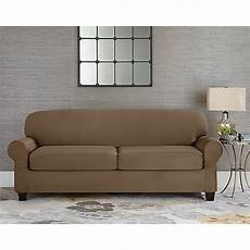 Sofa Slipcovers With 2 Cushions 3d Image by Sure Fit 174 Designer Suede Individual Cushion 2 Seat Sofa