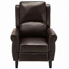 brown leather recliner armchair accent chair w leg rest