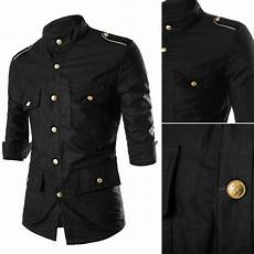 mens button shirts sleeve arm new 2016 mens fashion gold epaulets muitl button pockets