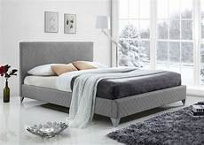 blue grey fabric upholstered modern bed frame