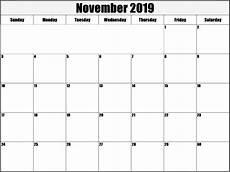 Printable Editable Calendars November 2019 Calendar Editable Free Printable Images