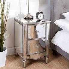 elysee mirrored glass 2 drawer bedside ely2bsmir by birlea