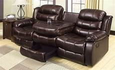 berkshire rustic brown reclining sofa with center console