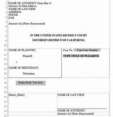 California Pleading Template Pleading Form Southern District Of California Word