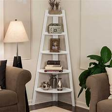 wood 5 tiered corner ladder bookcase in white apartment