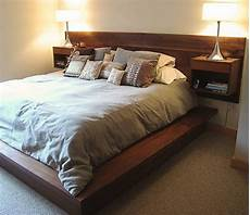 solid walnut bed headboard with nightstand attached modern