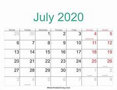 July 2020 Calendar Printable July 2020 Calendar Printable With Holidays